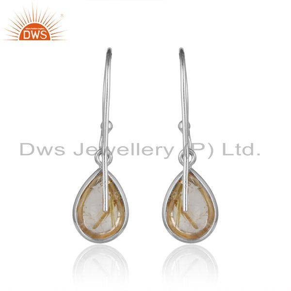 Designer of Handcrafted drop dangle in solid silver 925 with golden rutile