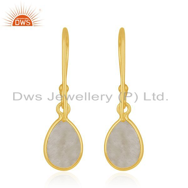 Suppliers Golden Rutile Gemstone 925 Silver Gold Plated Drop Earrings Manufacturers