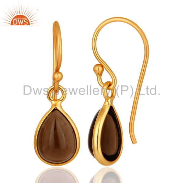 Suppliers Natural Smoky Quartz 22K Gold Plated Sterling Silver Gemstone Bezel-Set Earring