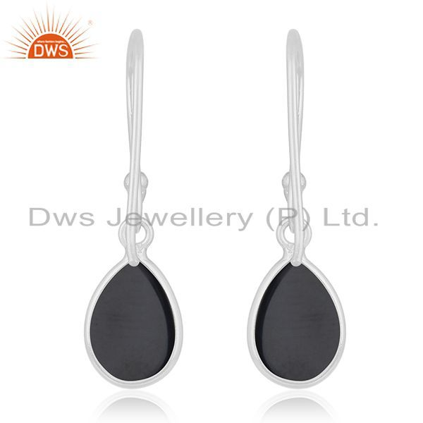 Suppliers Genuine Black Onyx Gemstone 925 Sterling Fine Silver Drop Earring Manufacturer