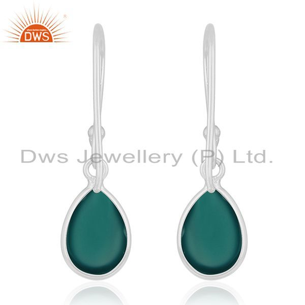 Suppliers 92.5 Sterling Fine Silver Green Onyx Gemstone Handmade Earring Wholesale Jewelry