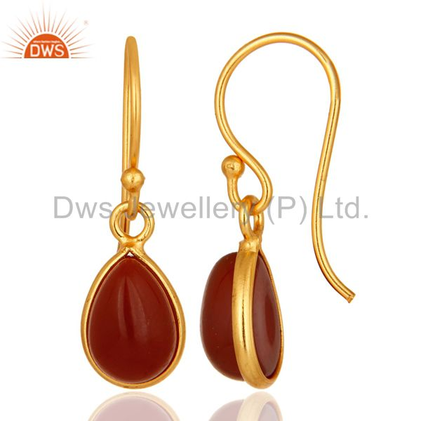 Natural Red Onyx Gemstone Drop Earrings In 18K Gold Over Sterling Silver From Jaipur India