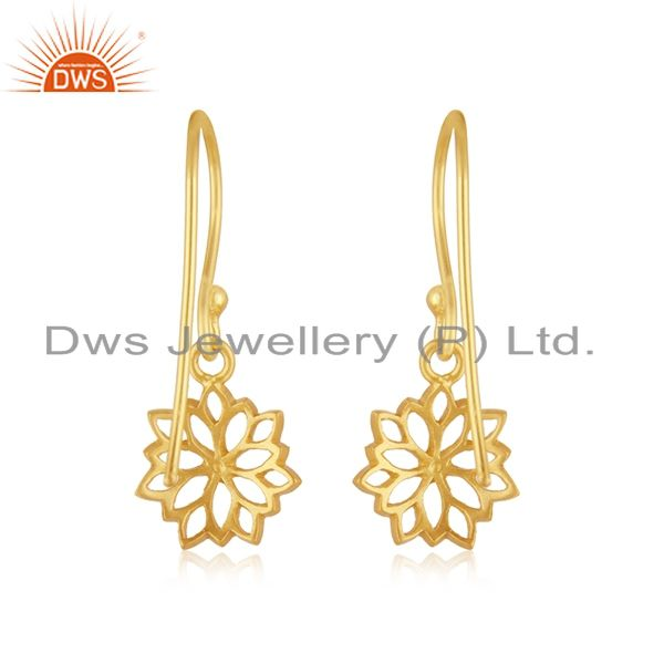 Suppliers 22K Yellow Gold Plated Sterling Silver Filigree Flower Design Dangle Earrings