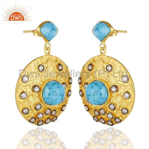 Suppliers 18K Yellow Gold Plated Brass Turquoise & Cubic Zirconia Disc Fashion Earrings