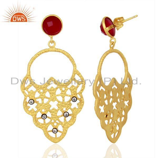 Suppliers 22K Yellow Gold Plated Pink Corundum And CZ Hammered Fashion Dangle Earrings