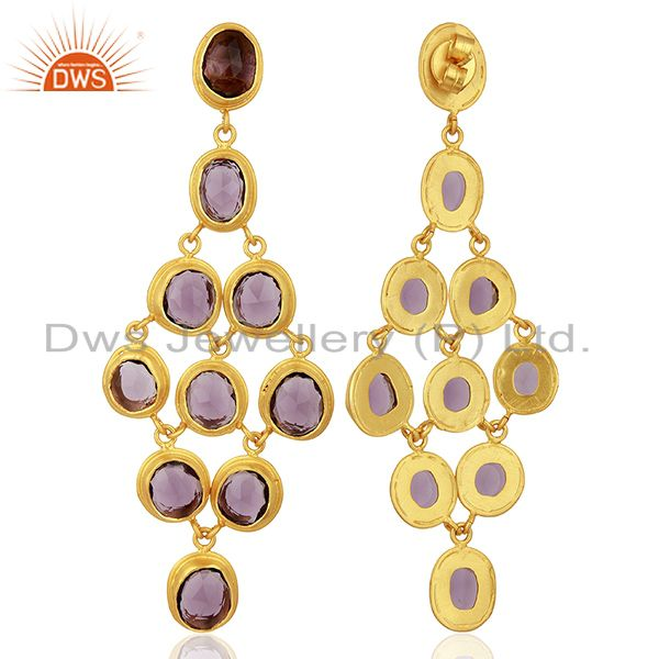 Suppliers Hydro Amethyst Gemstone Gold Plated Silver Fashion Earrings Jewelry