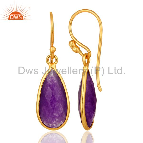 Suppliers 925 Sterling Silver Faceted Purple Chalcedony Bezel-Set Gold Plated Earrings