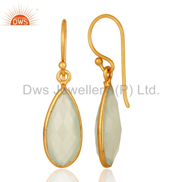 Faceted Green Chalcedony Teardrop Bezel Earrings 14K Gold Plated Over Silver From Jaipur India