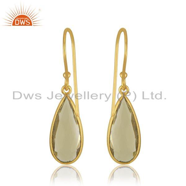 Suppliers Lemon Topaz Gemstone 925 Silver Yellow Gold Plated Drop Earrings Manufacturer