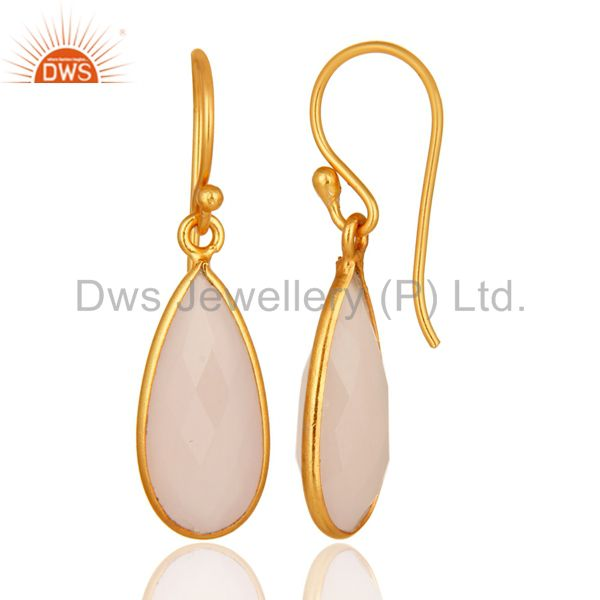 Suppliers Faceted Rose Chalcedony Gemstone Sterling Silver Earrings With Gold Plated