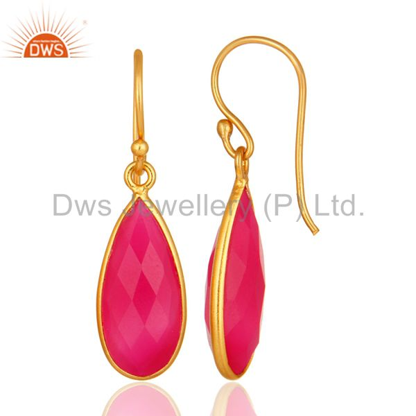 Suppliers 18K Gold Plated 925 Sterling Silver Pink Chalcedony Dangle Earring Jewelry