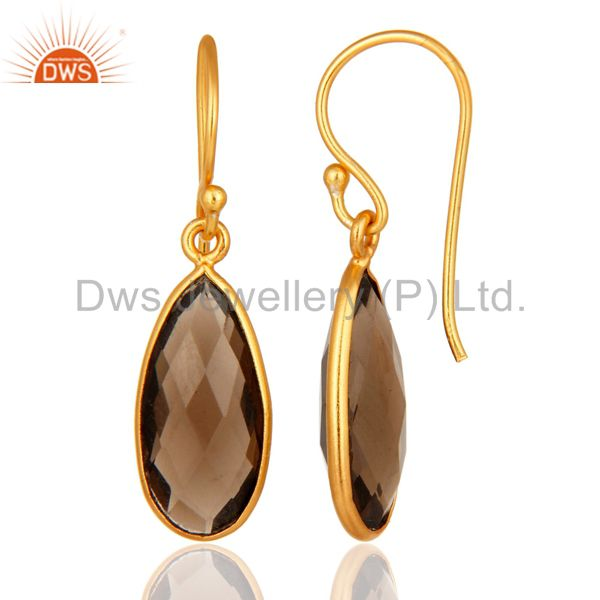 Suppliers Sterling Silver Faceted Smoky Quartz Gemstone Drop Earrings - Gold Plated