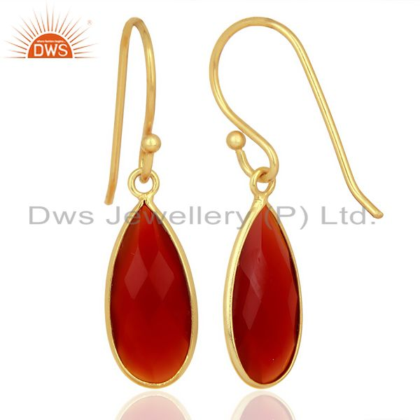 Suppliers Red Onyx Drop Bezel Set Gold Plated 92.5 Sterling Silver Earring