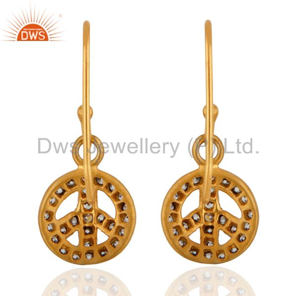 Suppliers New Peace Sign Earrings 24k Gold GP Pave Cubic Zirconia Pierced Dangle Jewelry