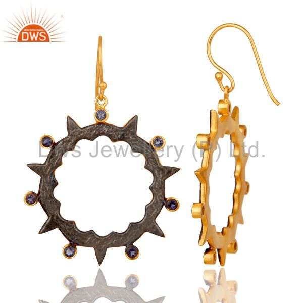 Suppliers 18k Gold Plated Round Design Brass Earrings with Iolite