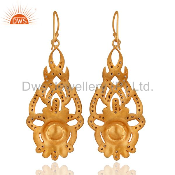 Suppliers Cubic Zirconia And Natural Pearl 18K Yellow Gold Plated Fashion Designer Earring