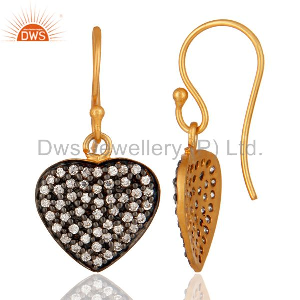 Suppliers Handmade 18K Yellow Gold Plated Cubic Zirconia Heart Design Dangle Earrings