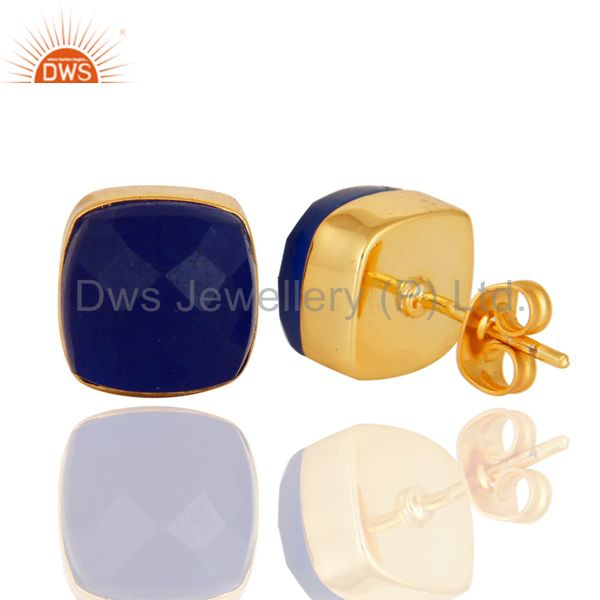 Suppliers Checkerboard Cut Blue Aventurine 18K Gold Plated Brass Stud Earrings