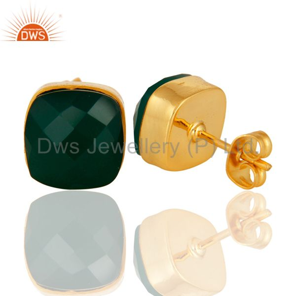 Suppliers Faceted Green Onyx Gemstone Studs Earrings With Yellow Gold Plated