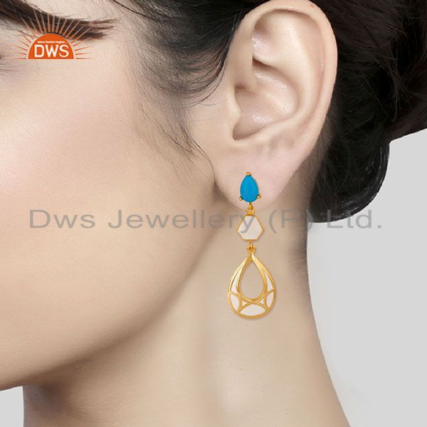 Suppliers 14K Yellow Gold Plated 925 Sterling Silver Handmade Turquoise Dangle Earrings