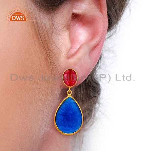 Suppliers Multi Color Aventurine Dangle 18K Gold Plated Sterling Silver Earrings Jewelry