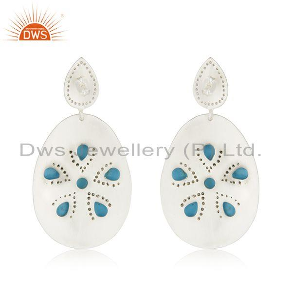 Suppliers Fine Silver Plated Brass Fashion Turquoise Gemstone Earrings Wholesale Jaipur