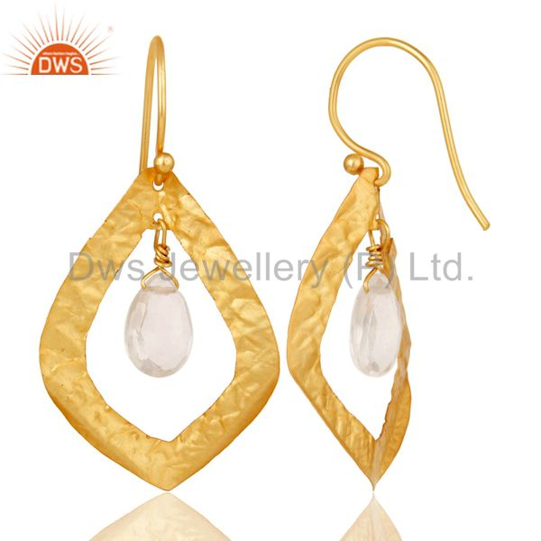 Suppliers 22K Yellow Gold Plated Sterling Silver Crystal Quartz Designer Dangle Earrings