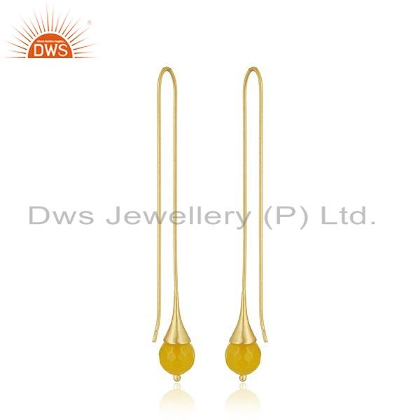 Suppliers Chalcedony Gemstone Gold Plated Designer Brass Fashion Earring Jewelry