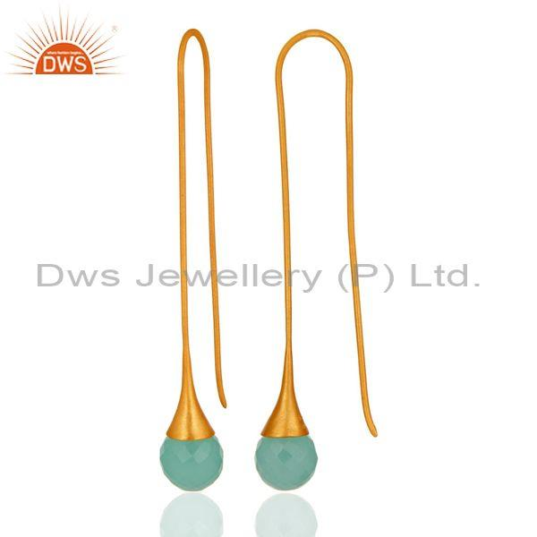 Designers 14K Gold Plated Sterling Silver Glass Aqua Chalcedony Briolette Dangle Earrings