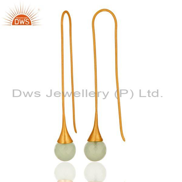 Suppliers Synthetic Green Chalcedony Gold Plated Sterling Silver Long Hoop Drop Earrings