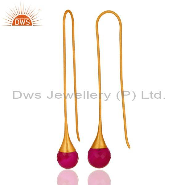 Suppliers 14K Yellow Gold Plated 925 Sterling Silver Dyed Pink Chalcedony Dangle Earrings