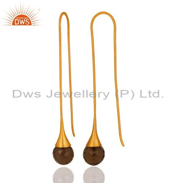 Smoky Quartz Briolette Long Earrings In 18K Gold Over Sterling Silver From Jaipur India