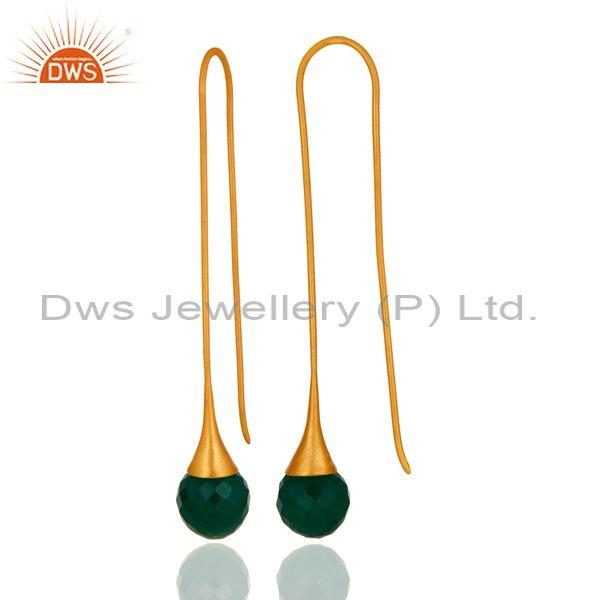 Suppliers Faceted Green Onyx Briolette Dangle Earrings In 24K Gold Plated Sterling Silver