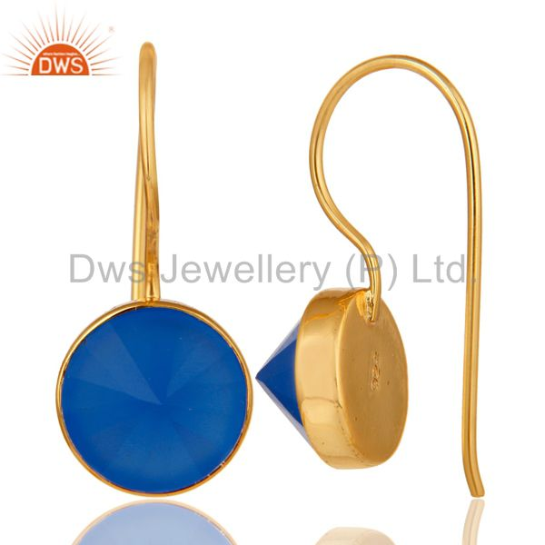 Suppliers 18K Yellow Gold Plated Blue Chalcedony Pyramid Earring Sterling Silver Earring