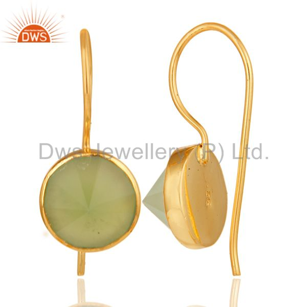 Suppliers 18K Yellow Gold Plated Prehnite Chalcedony Pyramid Earring Brass Earring