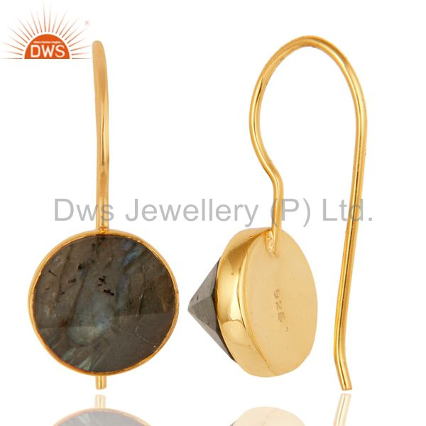 Suppliers 18K Yellow Gold Plated Labradorite Pyramid Earring Sterling Silver Earring