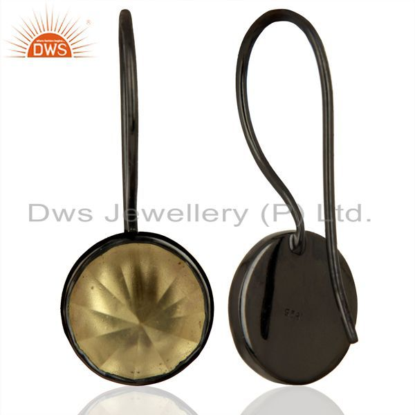 Suppliers Lemon Topaz Gemstone Earring Black Rhodium Plated Silver Earrings