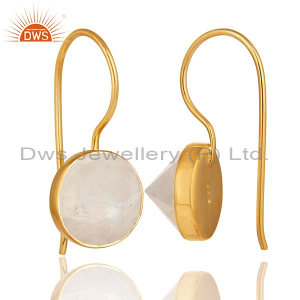 Suppliers 18K Yellow Gold Plated Rainbow Moonstone Pyramid Earring 925 Silver Earring