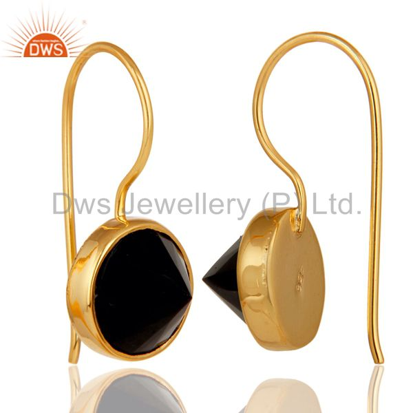 Suppliers 18K Yellow Gold Plated Black Onyx Pyramid Earring Sterling Silver Earring