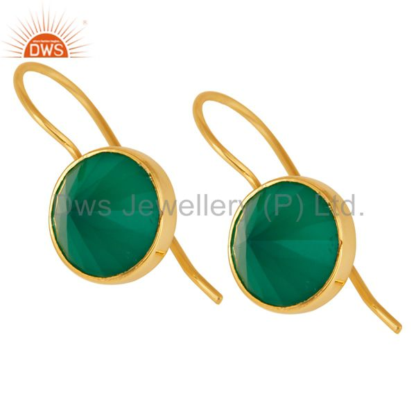 Suppliers 18K Yellow Gold Plated Sterling Silver Green Onyx Bezel Set Gemstone Earrings