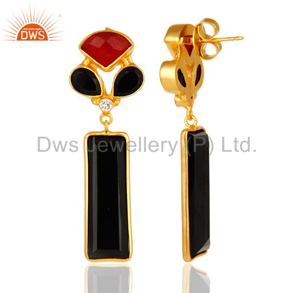Suppliers Red Aventurine And Black Onyx Gemstone 14K Yellow Gold Plated Dangle Earrings