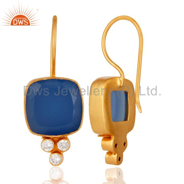 Suppliers 18K Yellow Gold Plated Blue Chalcedony & White Zircon Gemstone Brass Earring