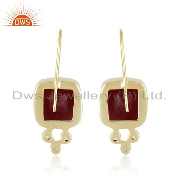 Suppliers 24K Yellow Gold Plated Brass Red Aventurine And CZ Designer Dangle Earrings