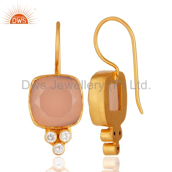 Suppliers 24K Yellow Gold Plated Brass Rose Chalcedony Gemstone Dangle Earrings With CZ