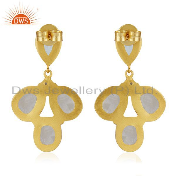 Suppliers Gold Plated Brass Multi Gemstone Fashion Earring Custom Jewelry Manufacturer