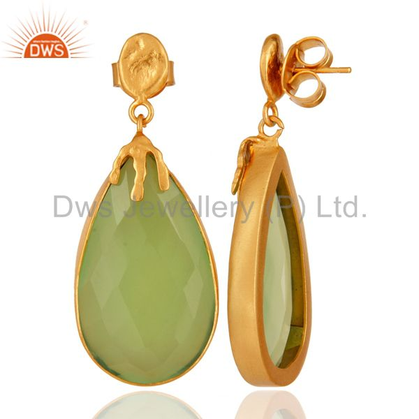 Suppliers 22K Yellow Gold Plated Brass Green Chalcedony Gemstone Bezel Set Dangle Earrings