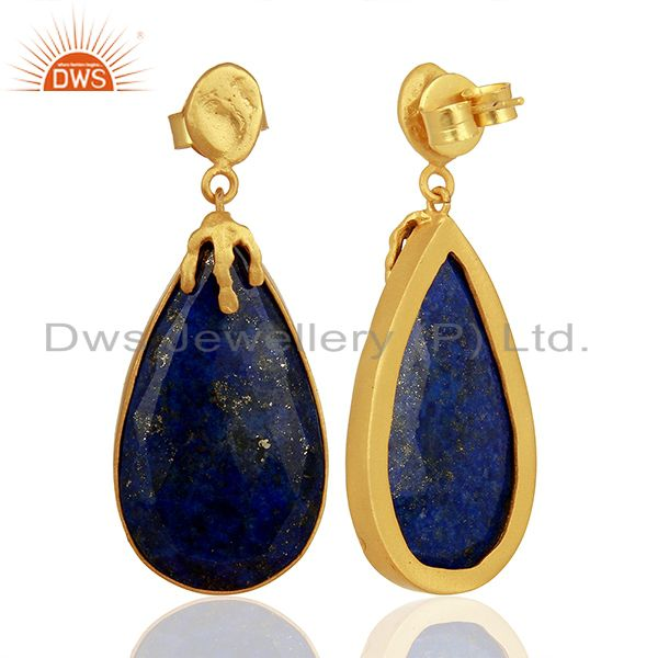 Suppliers Gold Plated Natural Lapis Gemstone Brass Fashion Earrings Jewelry