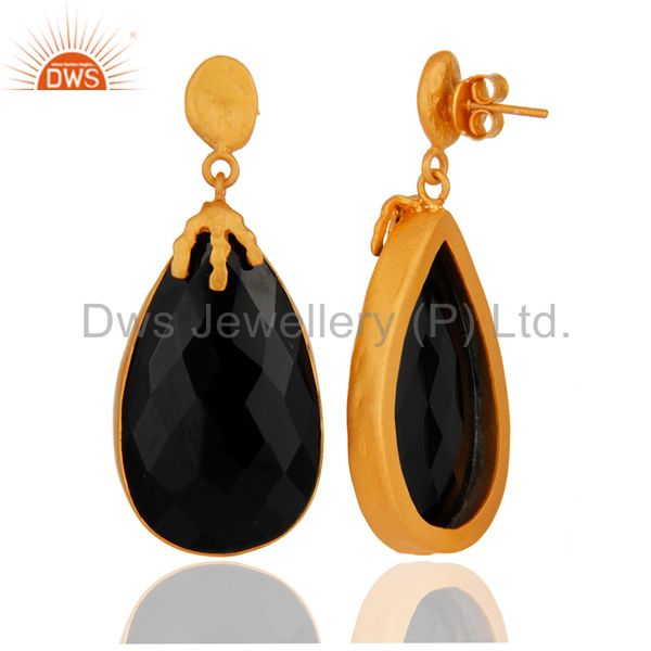Suppliers Natural Black Onyx Gemstone Dangle Earring Made In 18K Gold Over brass