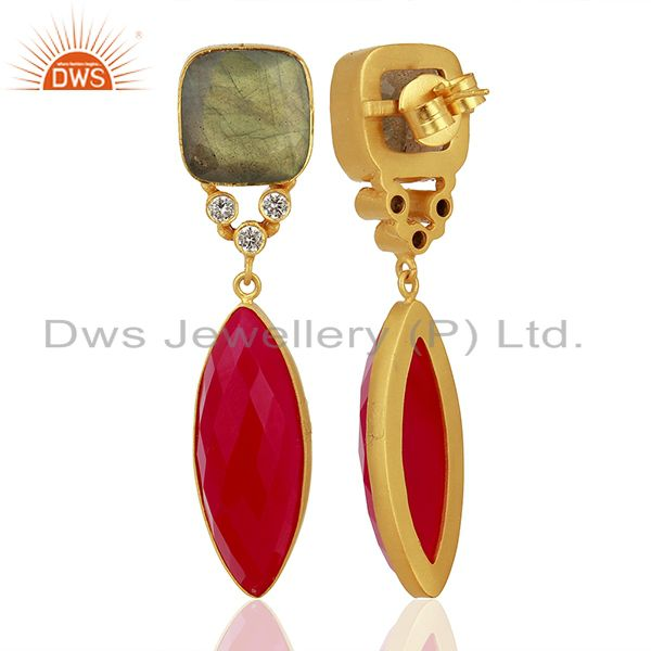 Suppliers Zircon Labradorite Gemstone Gold Plated Fashion Earrings Supplier