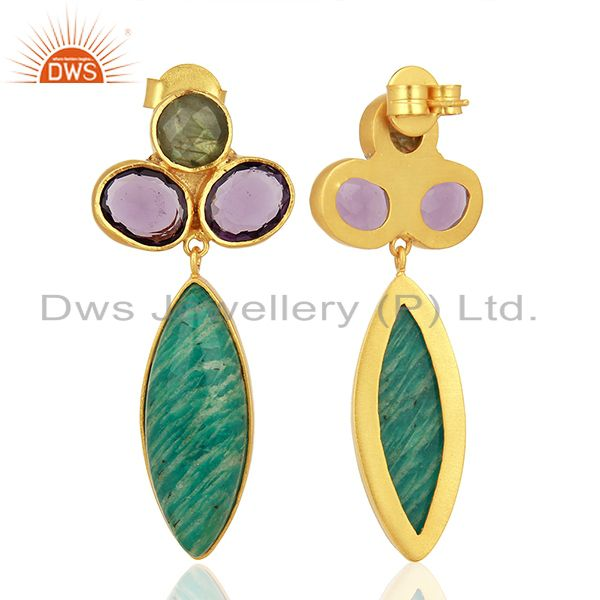 Suppliers Amazonite Gemstone Handmade Gold Plated Fsahion Earrings Jewelry